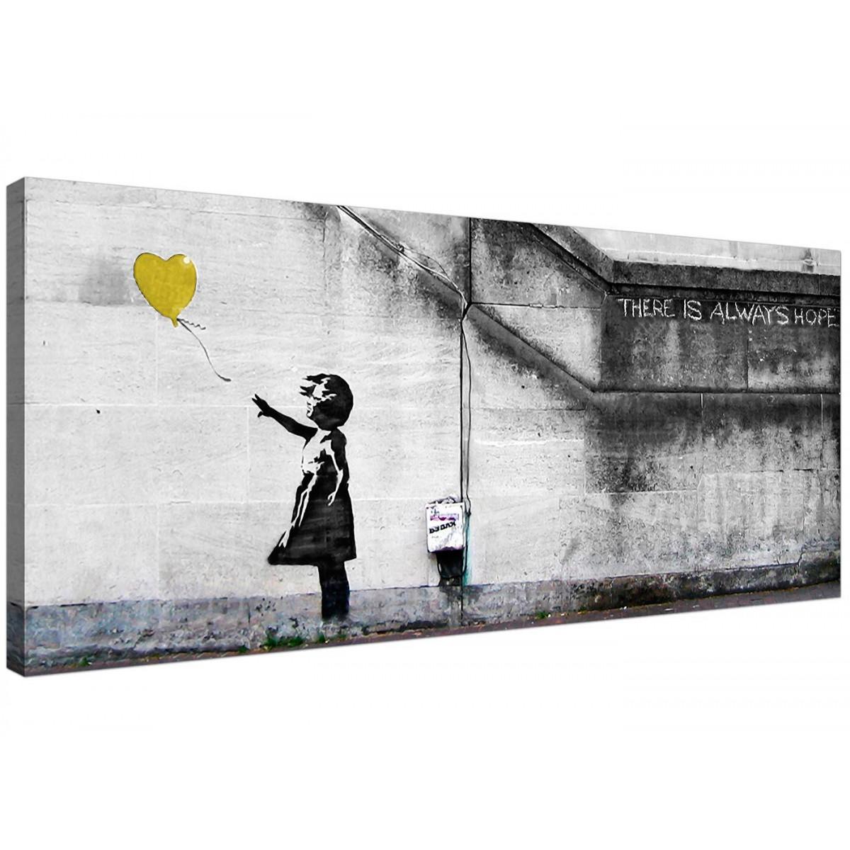 Cheap Yellow Canvas Art Of Banksy Balloon Girl