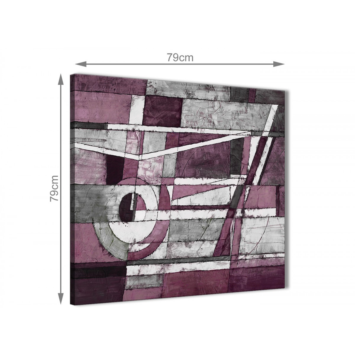 plum grey white painting abstract office canvas pictures accessories 1s408l 79cm square print. Black Bedroom Furniture Sets. Home Design Ideas
