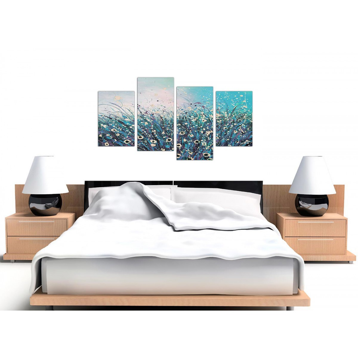 4260 Large Teal and Cream Abstract Floral Canvas Multi 4 Panel 130cm Wide