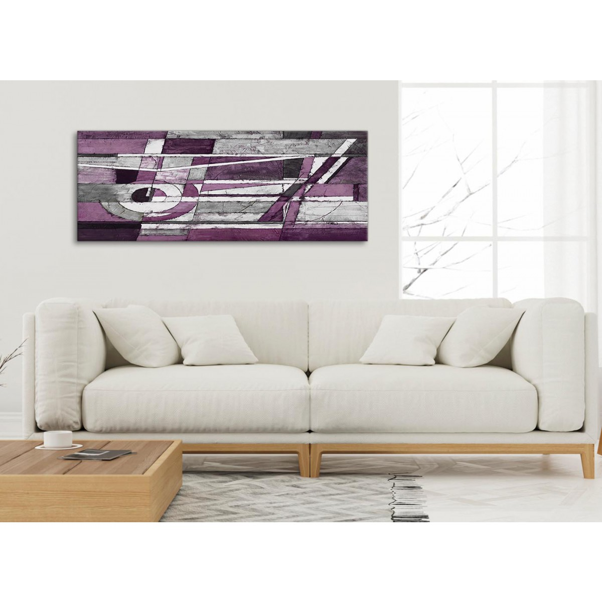 Aubergine Grey White Painting Living Room Canvas Wall Art Accessories Abstract 1406 120cm Print