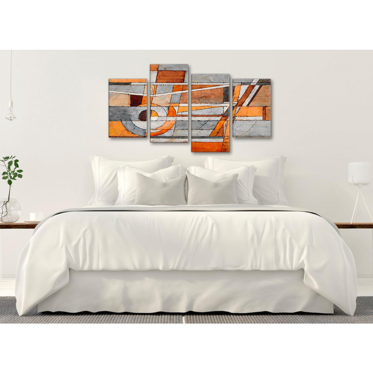 Large Burnt Orange Grey Painting Abstract Living Room