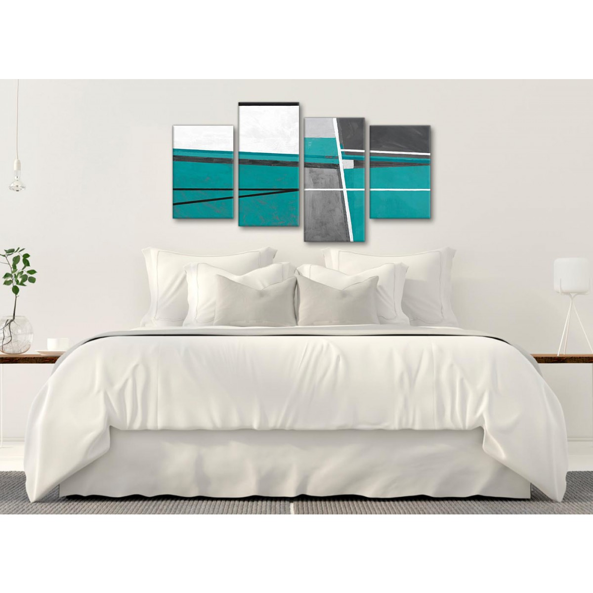 Art Décor: Large Teal Grey Painting Abstract Bedroom Canvas Wall Art