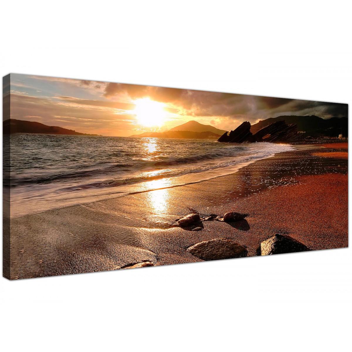 Superb Large Sunset Beach Scene Golden Brown Landscape Modern Canvas Art   120cm    1131
