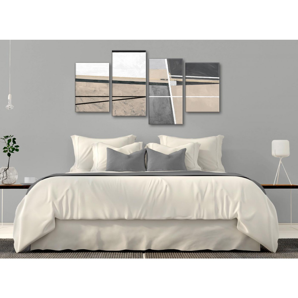 Large Beige Cream Grey Painting Abstract Bedroom Canvas