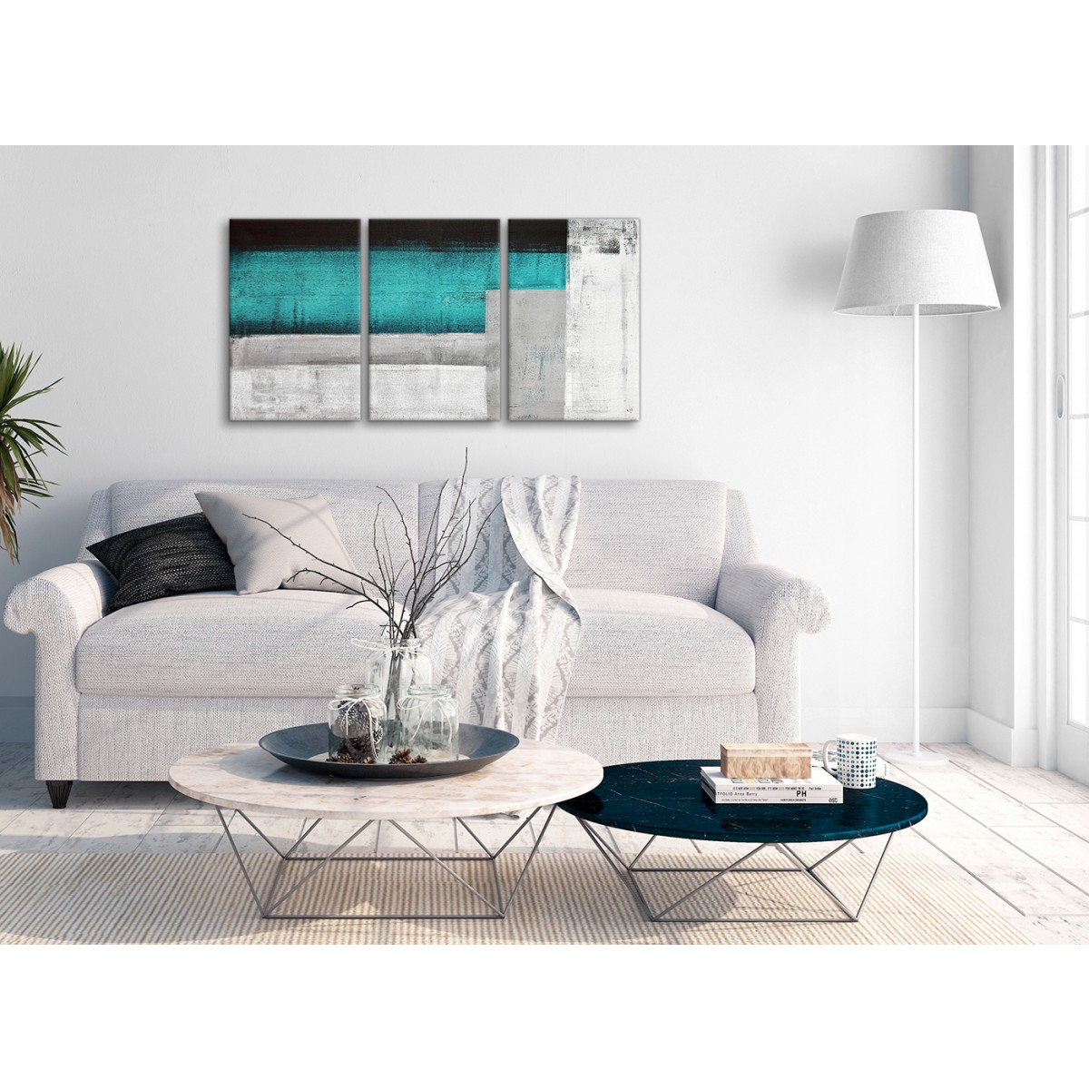 3 Panel Teal Turquoise Grey Painting Office Canvas Wall ...
