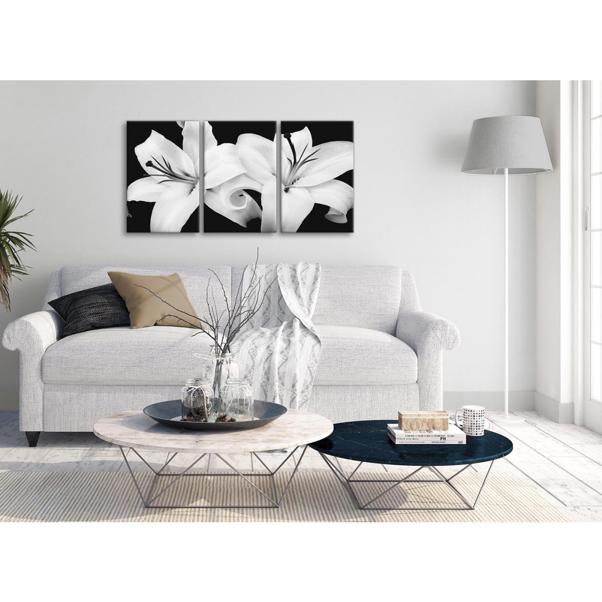 Black White Lily Flower Bedroom Canvas Wall Art