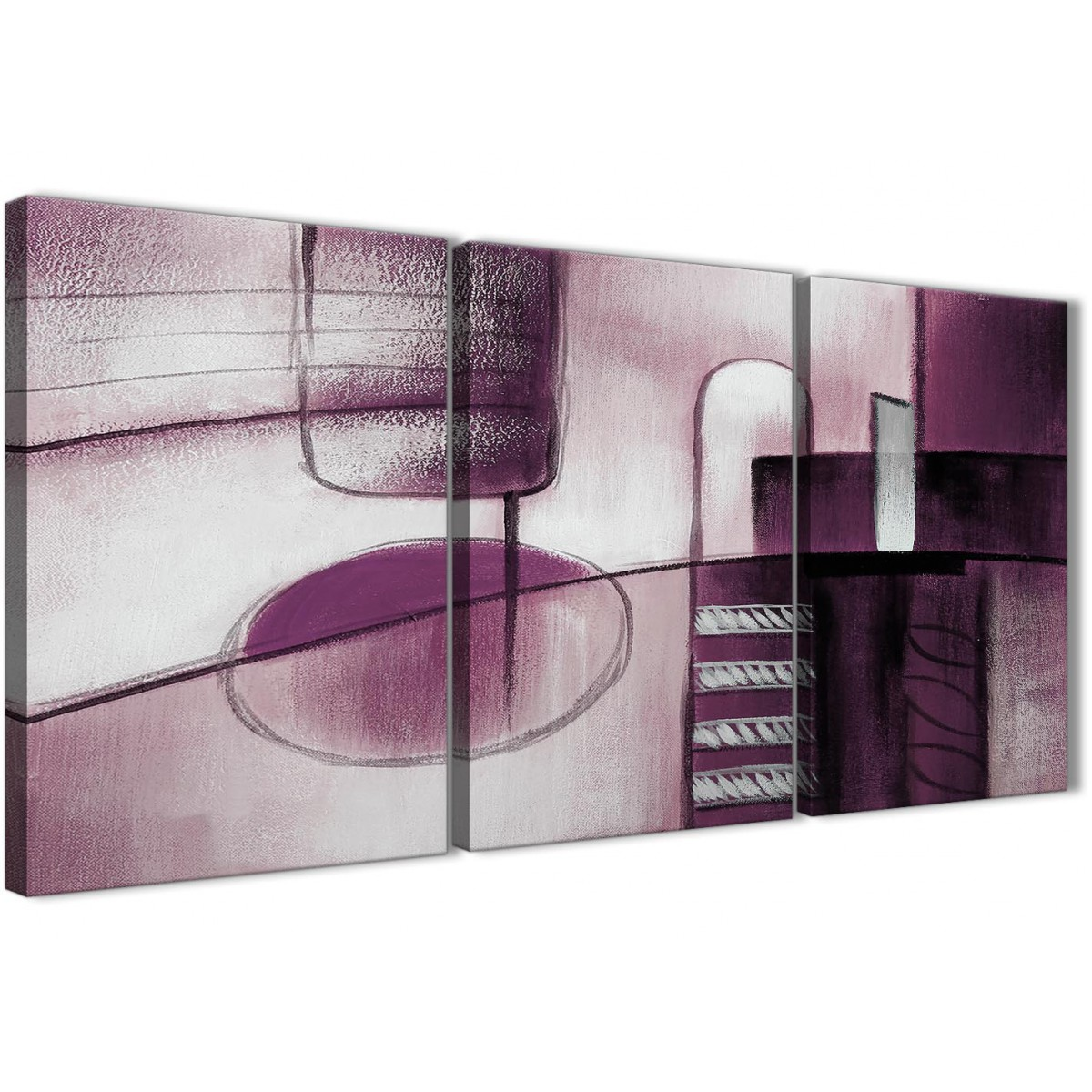 Plum Purple Grey Painting Kitchen Canvas Pictures: 3 Piece Plum Grey Painting Hallway Canvas Pictures Decor
