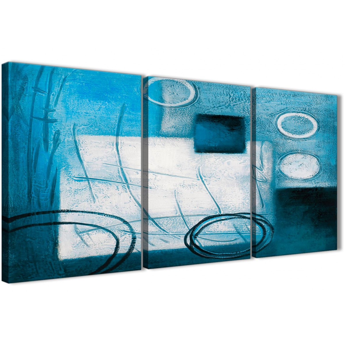 3 Piece Teal White Painting Kitchen Canvas Pictures Accessories