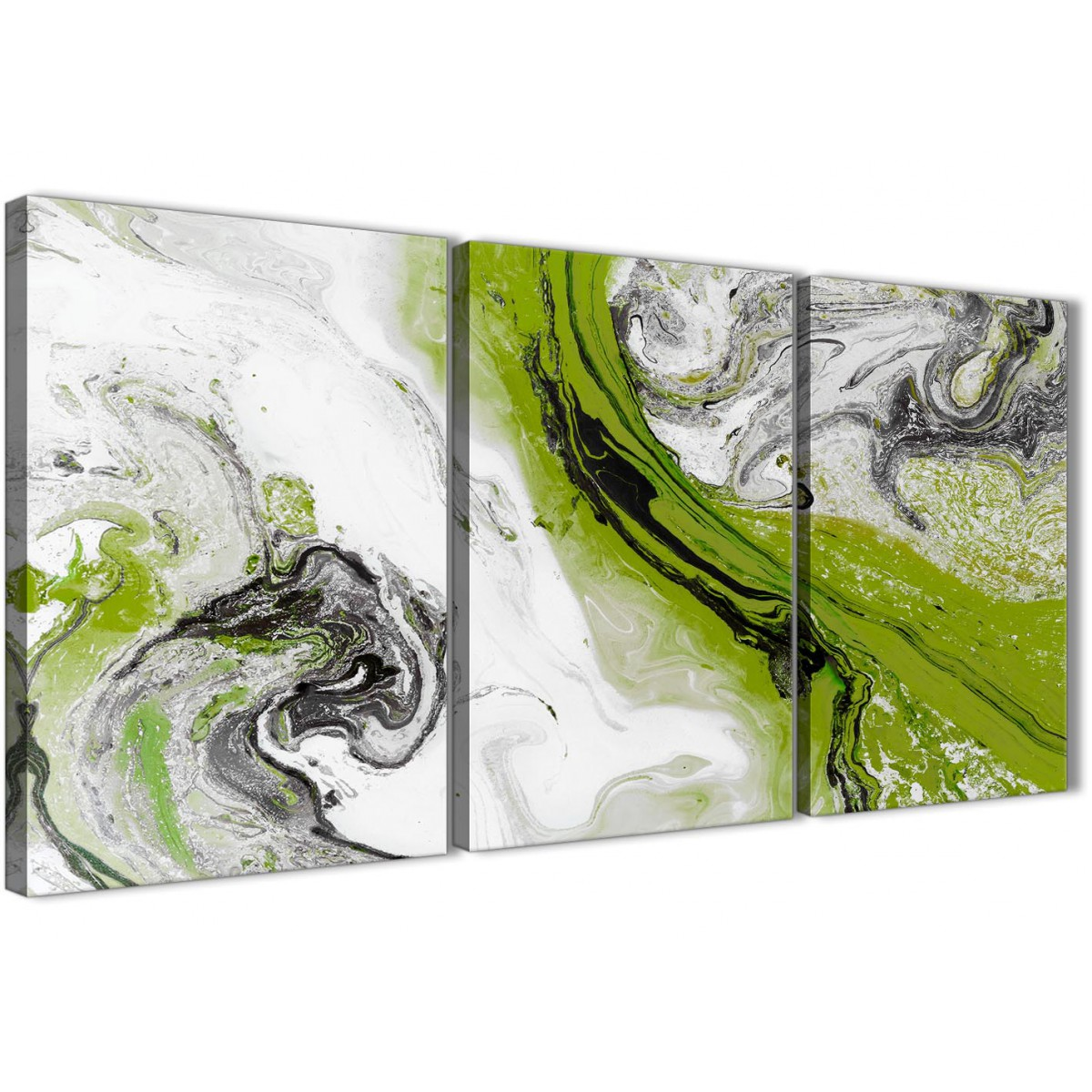 910e8df54e6 3 Panel Lime Green and Grey Swirl Living Room Canvas Wall Art Accessories -  Abstract 3464 - 126cm Set of Prints