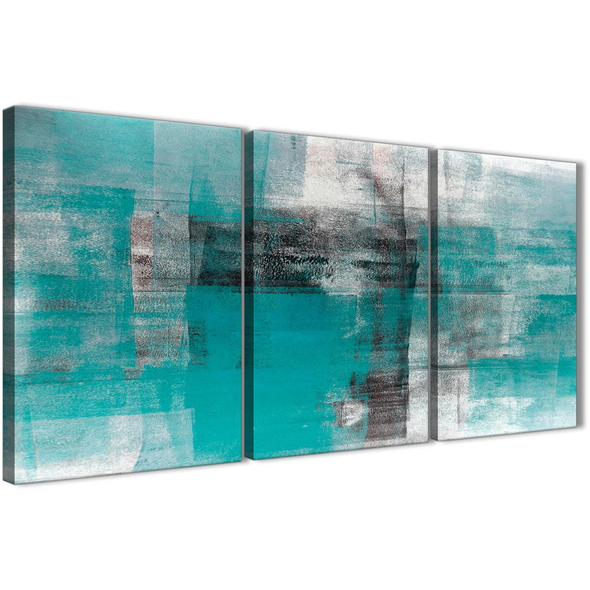 Items Similar To Teal Purple Abstract Flowers Wall Decor: 3 Piece Teal Black White Painting Dining Room Canvas