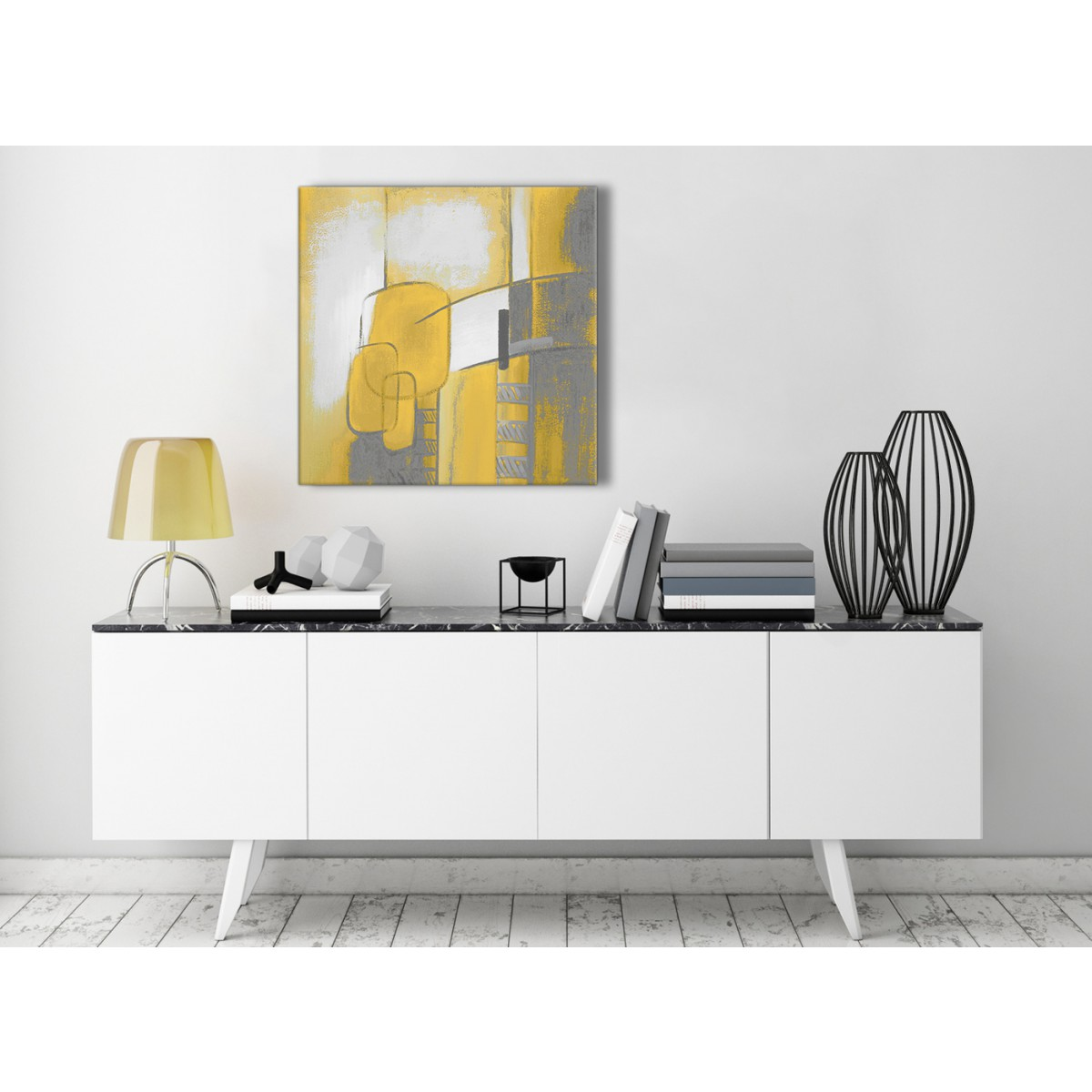 Mustard Kitchen Paint: Mustard Yellow Grey Painting Hallway Canvas Wall Art Decor