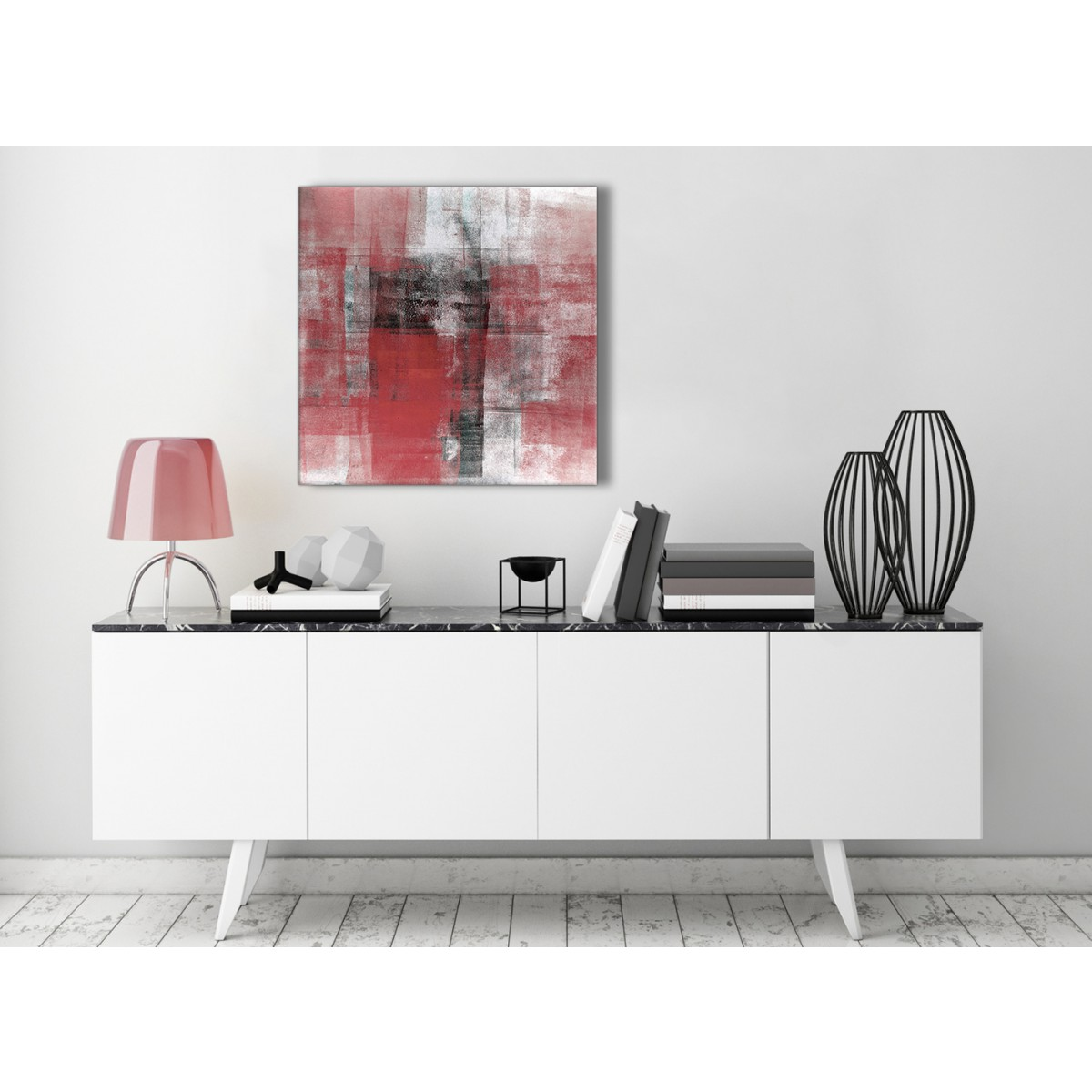 Red Black White Painting Stairway Canvas Pictures