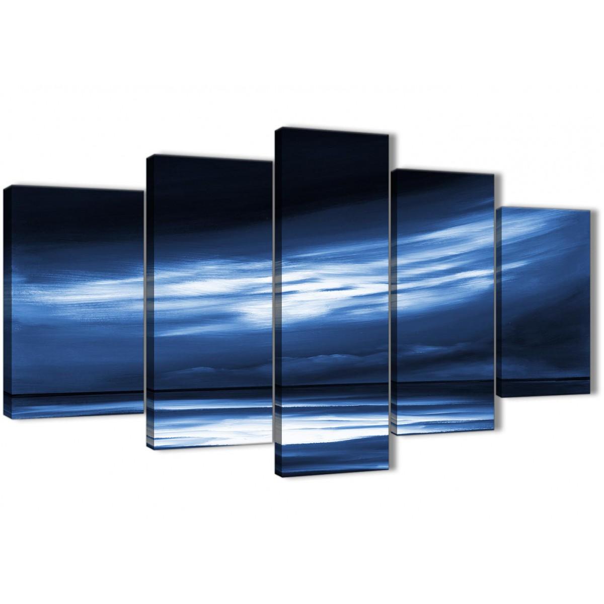 Extra Large Indigo Blue White Abstract Sunset Modern