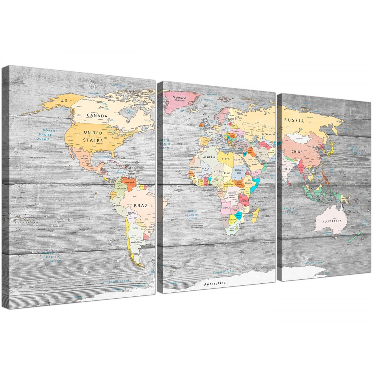 Large Map Of World Canvas Art Print Colourful Light Grey