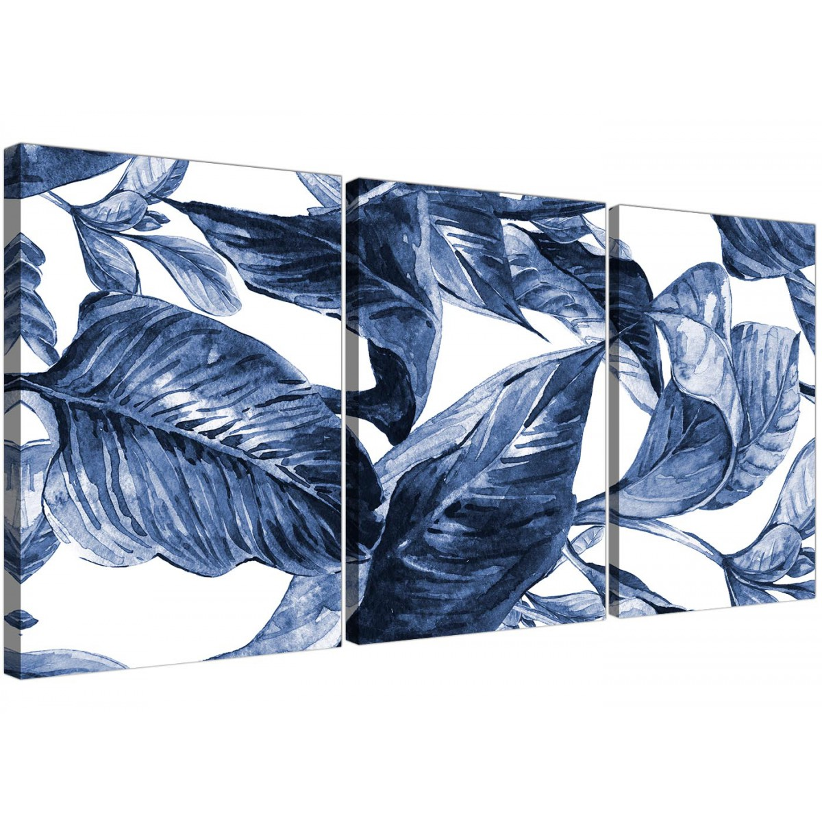 245d8e8e5a0 Indigo Navy Blue White Tropical Leaves Canvas Wall Art - Split Set of 3 -  3320