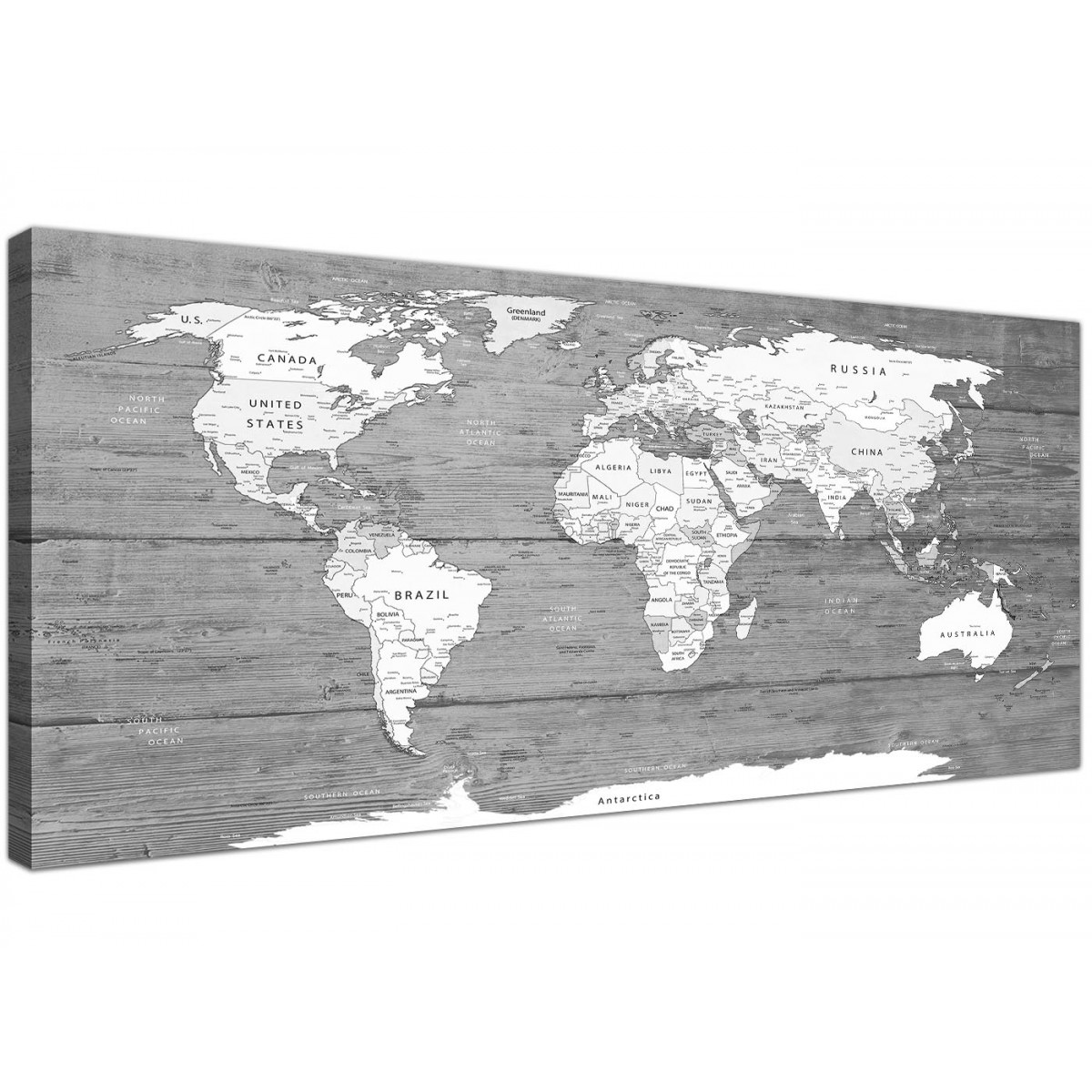 Large Black White Map Of World Atlas Canvas Wall Art
