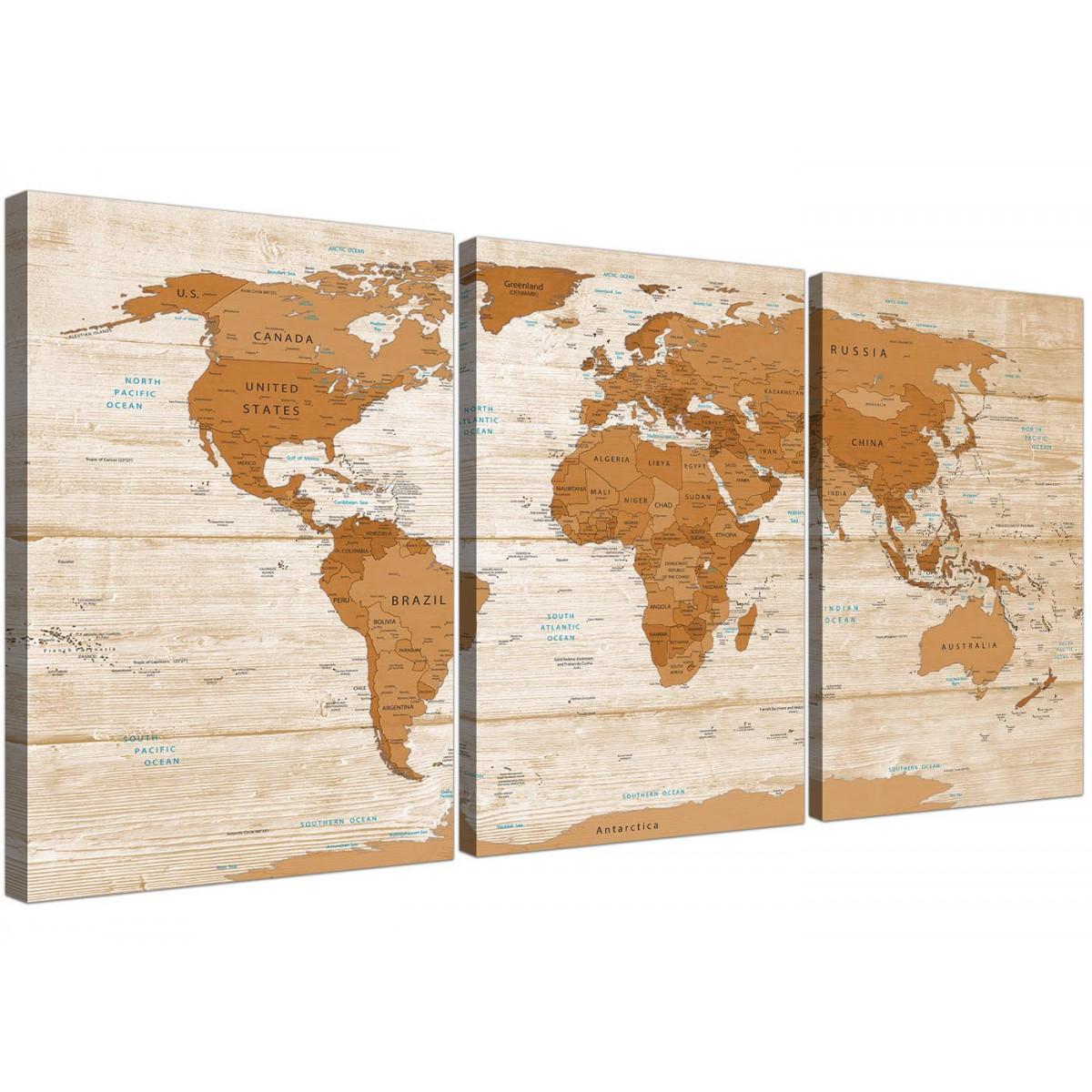 Large Brown Cream Map Of World Atlas Canvas Wall Art Print