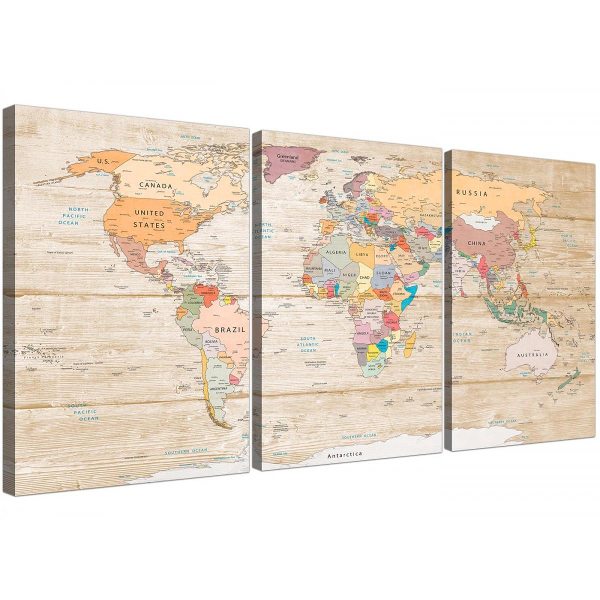 large map of the world canvas art print colourful cream multi 3 set 3314