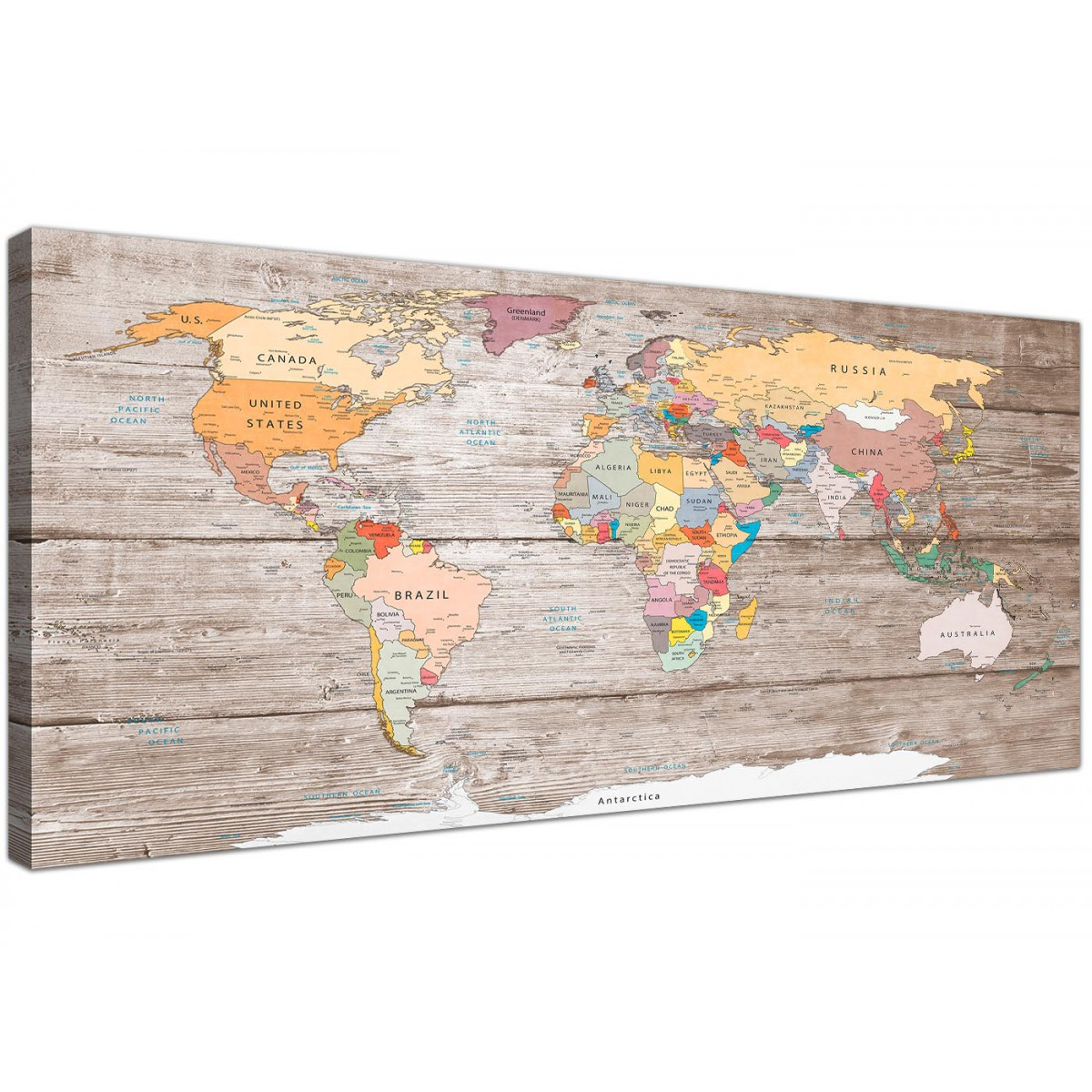 Huge Map Of The World.Large Decorative Map Of World Atlas Canvas Wall Art Print Modern