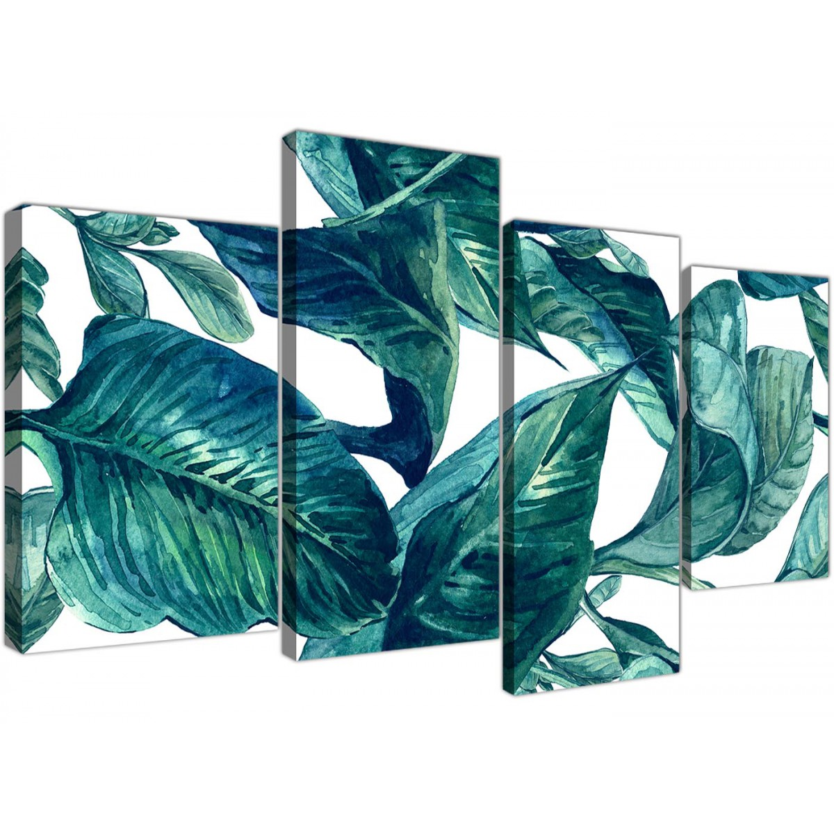 Large Teal Blue Green Tropical Exotic Leaves Canvas Wall