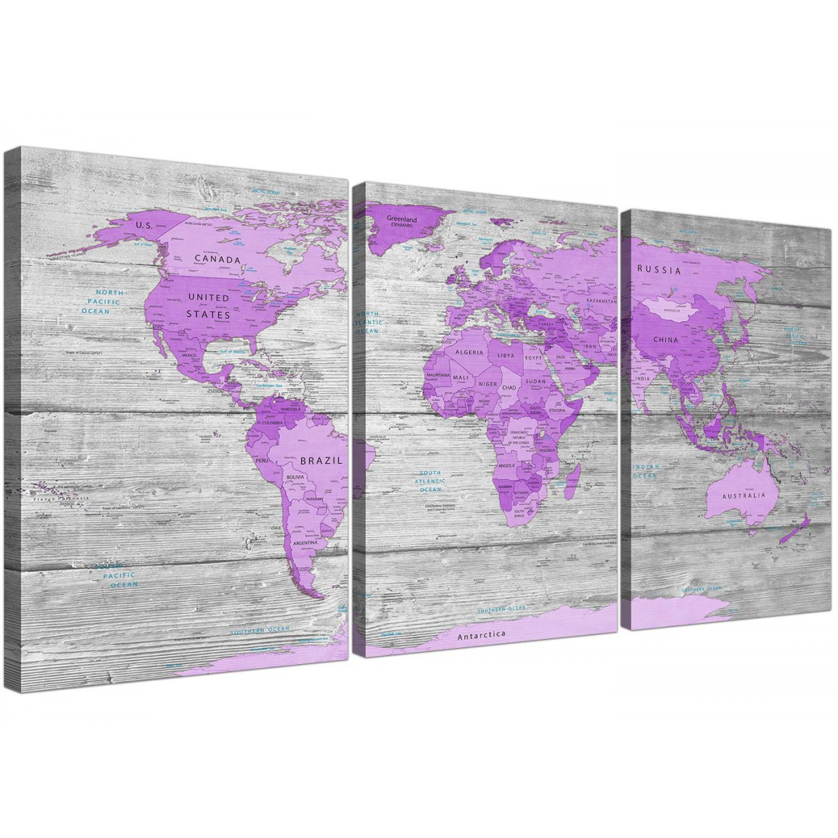 Purple Gray And White Bedroom: Large Purple And Grey Map Of World Atlas Canvas Wall Art