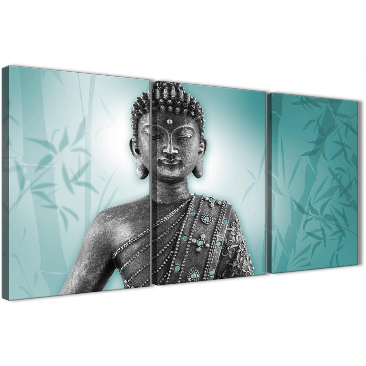 Teal And Grey Silver Canvas Art Prints Of Buddha Split