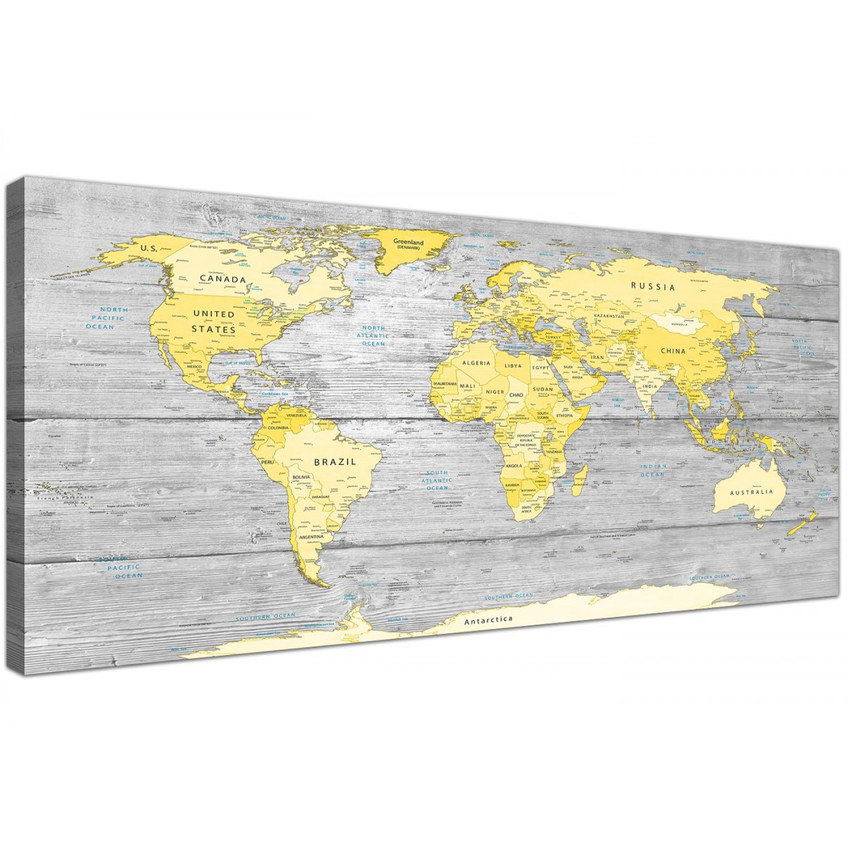 large yellow grey map of world atlas canvas wall art print maps modern 120cm wide 1305. Black Bedroom Furniture Sets. Home Design Ideas