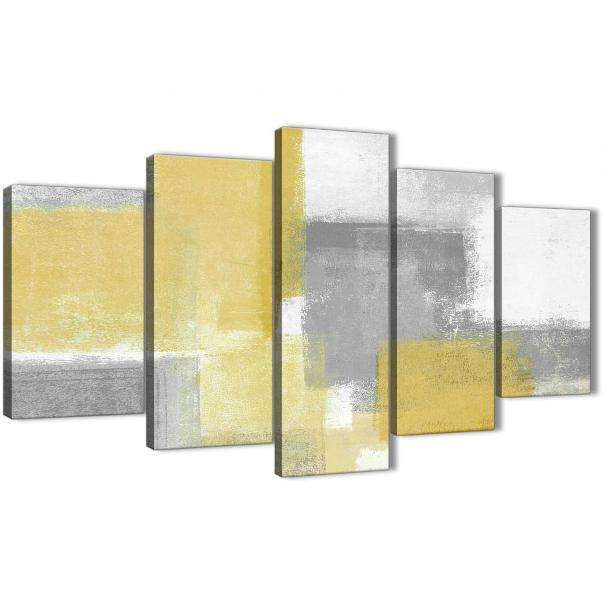 Bedroom Canvas Wall Art Uk: 5 Piece Mustard Yellow Grey Abstract Living Room Canvas