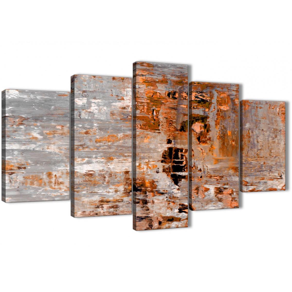 5 Piece Burnt Orange Grey Painting Abstract Bedroom Canvas
