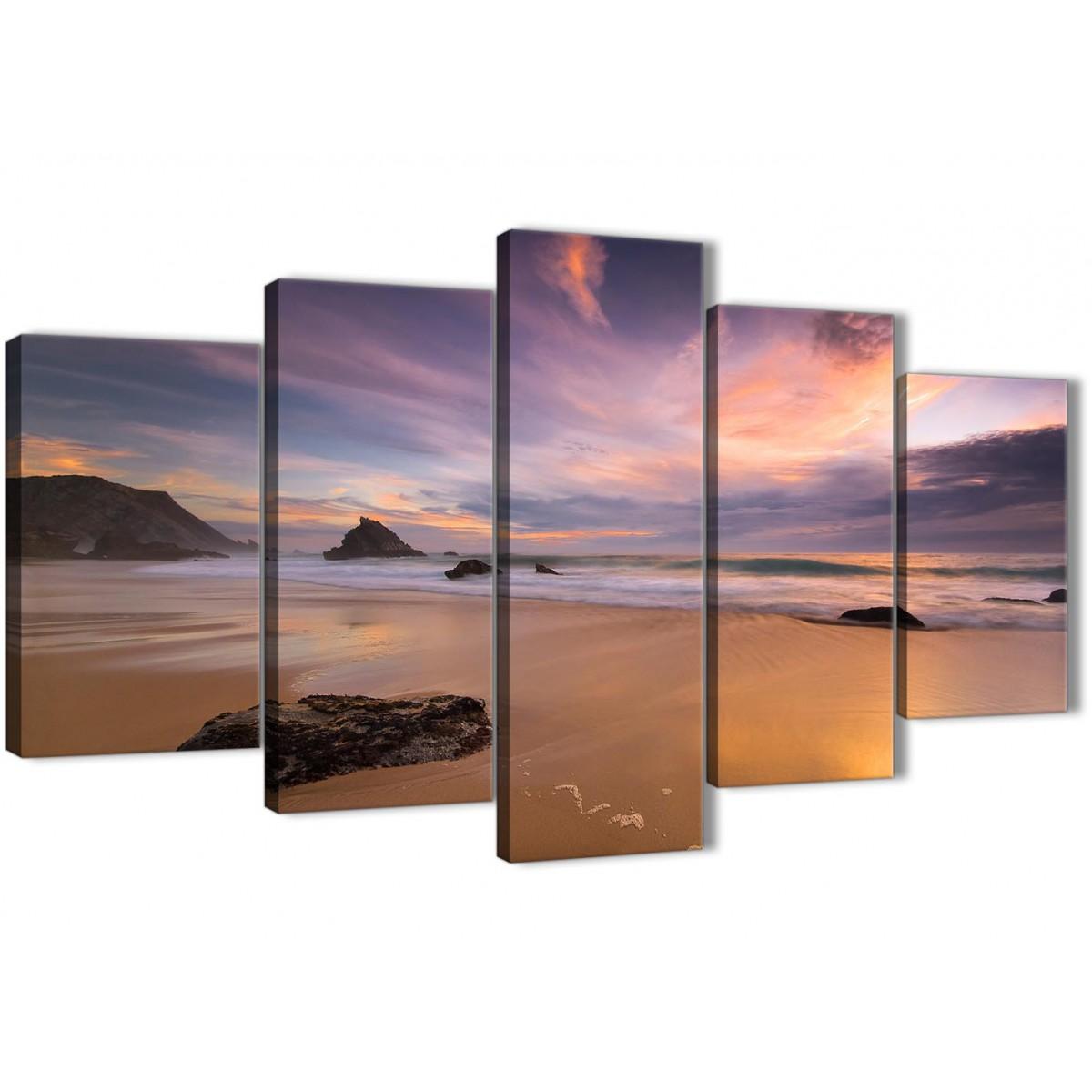 5 Piece Canvas Wall Art Prints Panoramic Landscape Beach
