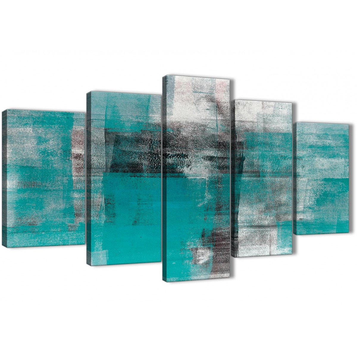 5 Part Teal Black White Painting Abstract Office Canvas