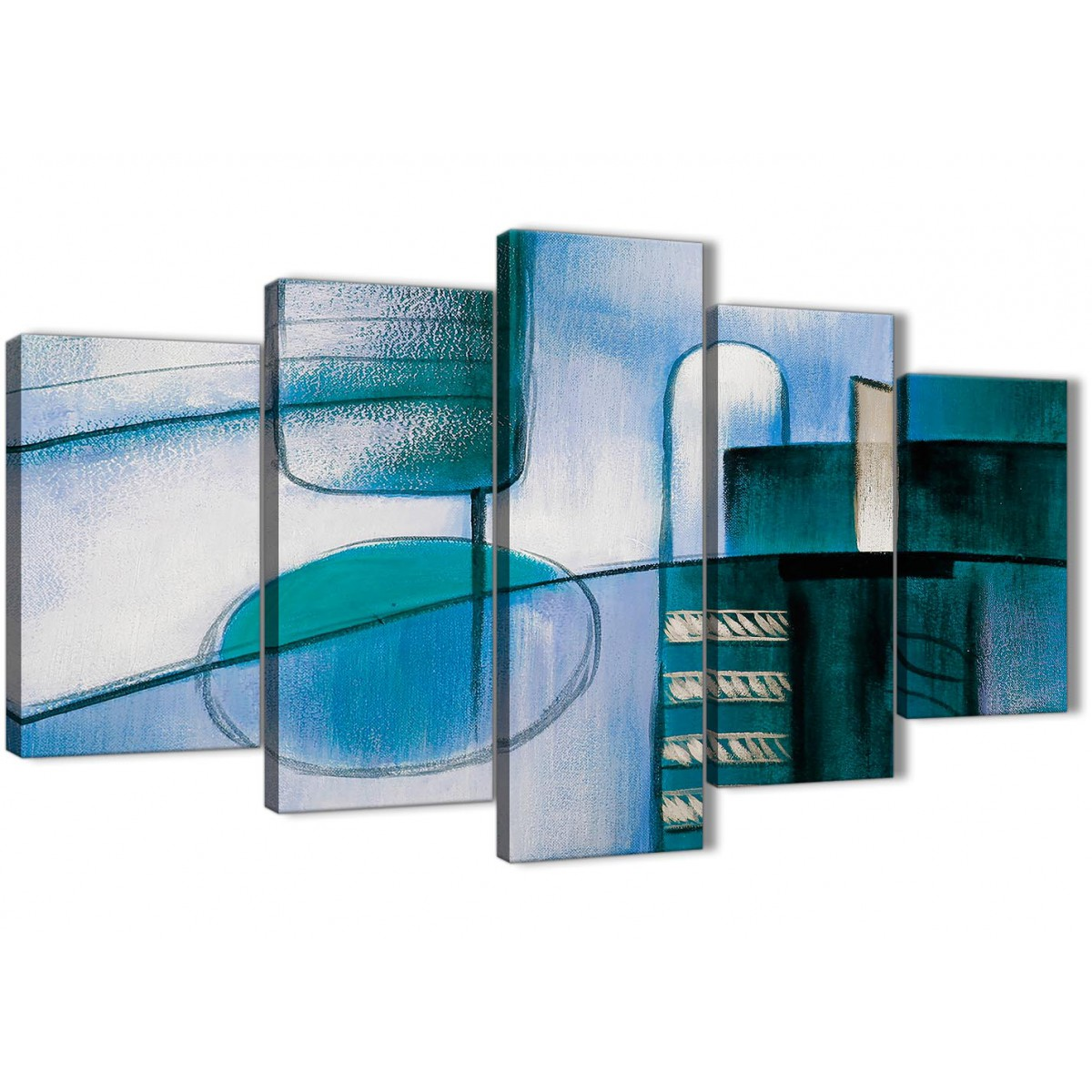 Home Office Sets Painted Office 5 Piece: 5 Piece Teal Cream Painting Abstract Living Room Canvas