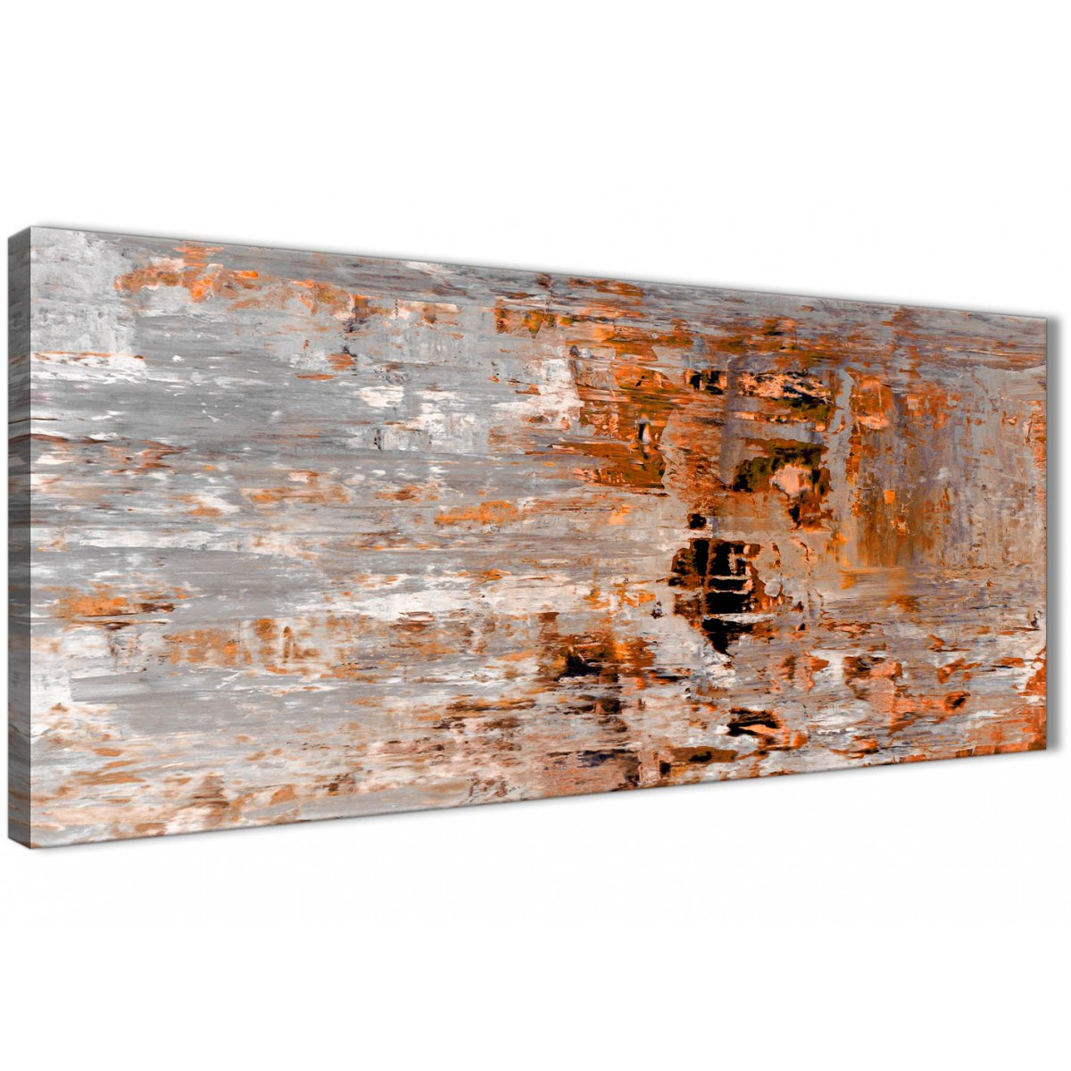 Burnt Orange Grey Painting Bedroom Canvas Wall Art