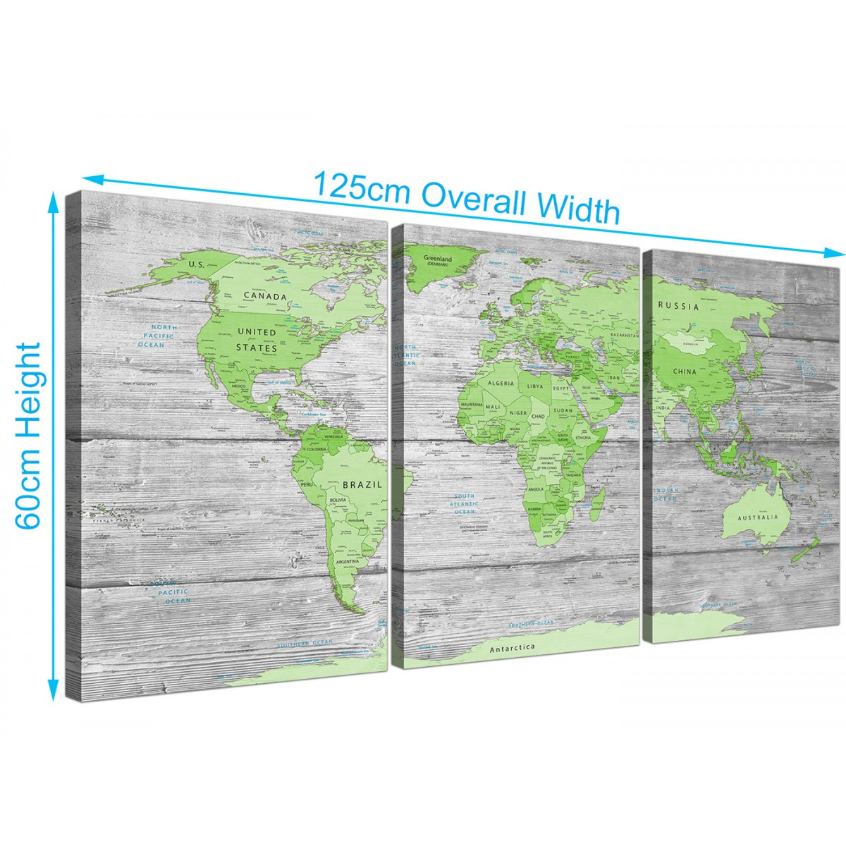 Large lime green grey world map atlas canvas wall art print multi item number 3301 gumiabroncs Gallery