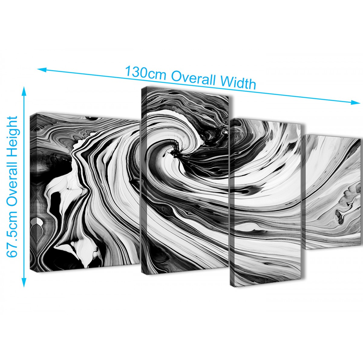 LARGE UNION JACK  BLACK /& WHITE CANVAS ART PICTURE SPLIT MULTI PANEL 100 cm wide
