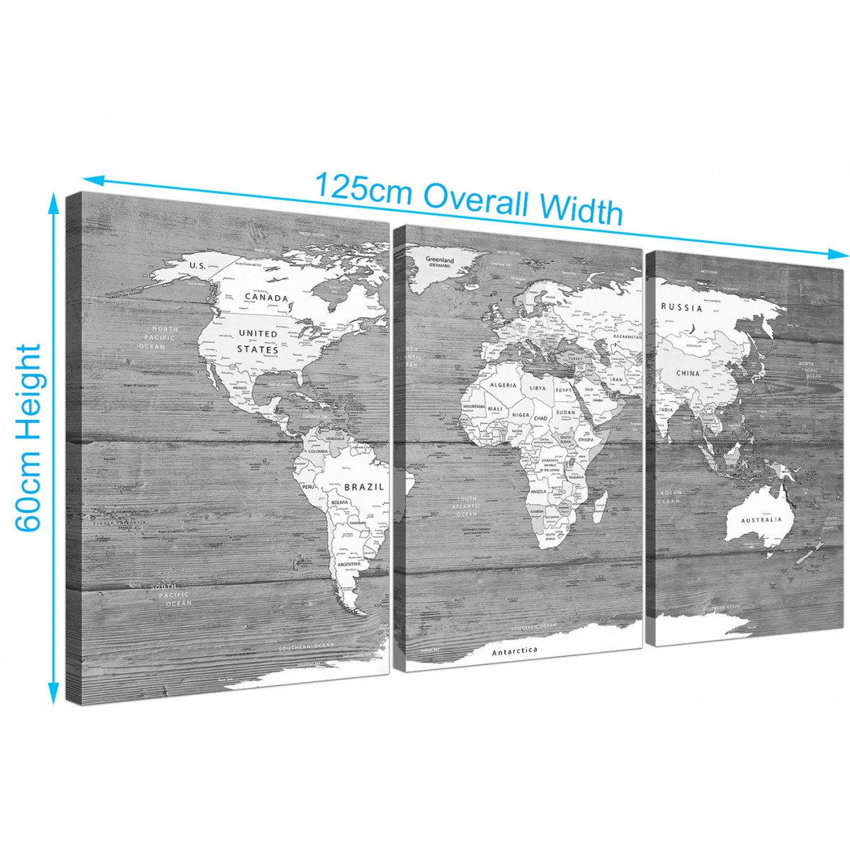 Large black white map of world atlas canvas wall art print split item number 3315 gumiabroncs Gallery