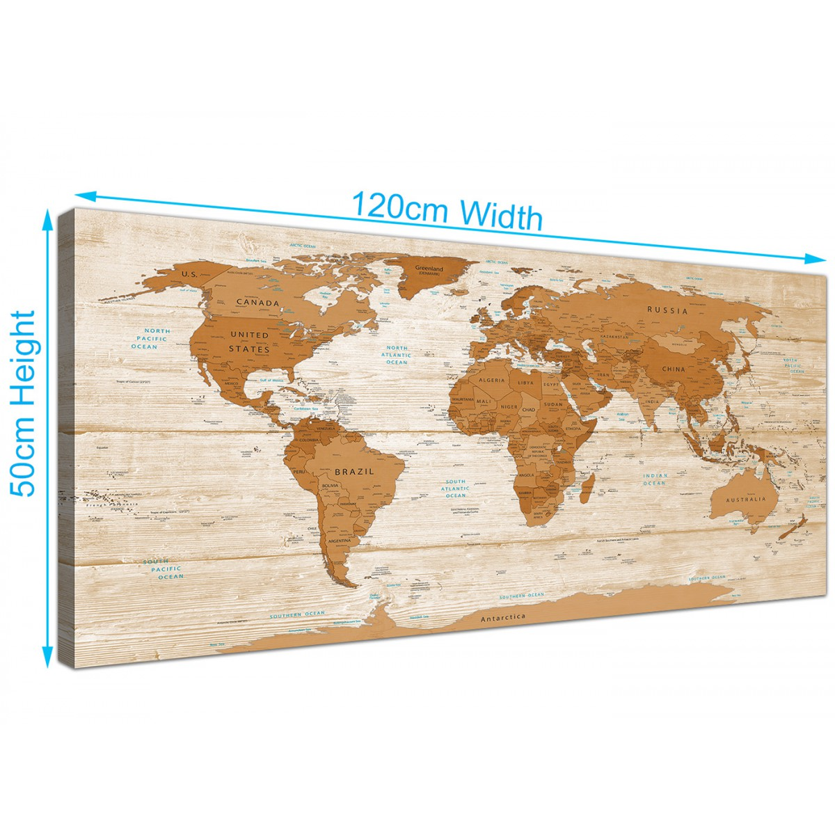 Large brown cream map of world atlas canvas wall art print modern overall size 120cm x 50cm gumiabroncs Gallery