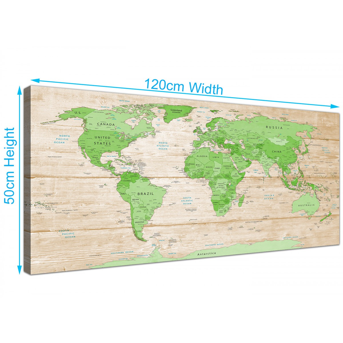 Large lime green cream world map atlas canvas wall art prints overall size 120cm x 50cm gumiabroncs Gallery