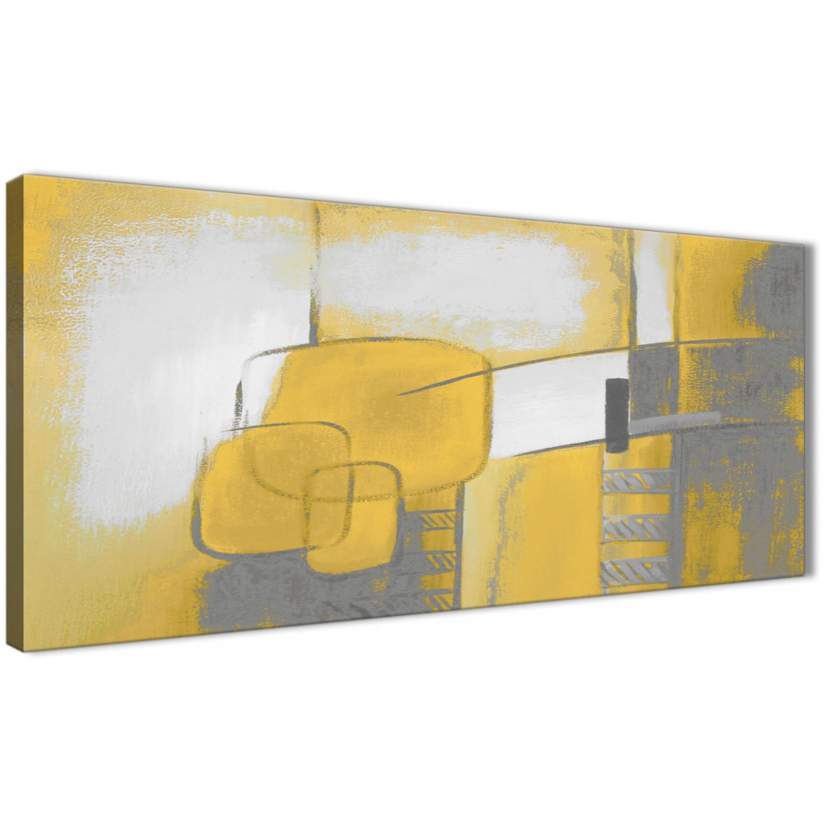 Bedroom Canvas Wall Art Uk: Mustard Yellow Grey Painting Bedroom Canvas Wall Art