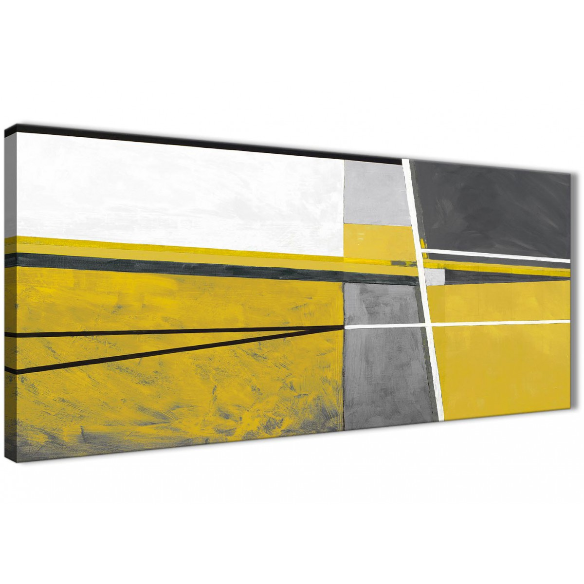 Mustard Yellow Grey Painting Living Room Canvas Wall Art