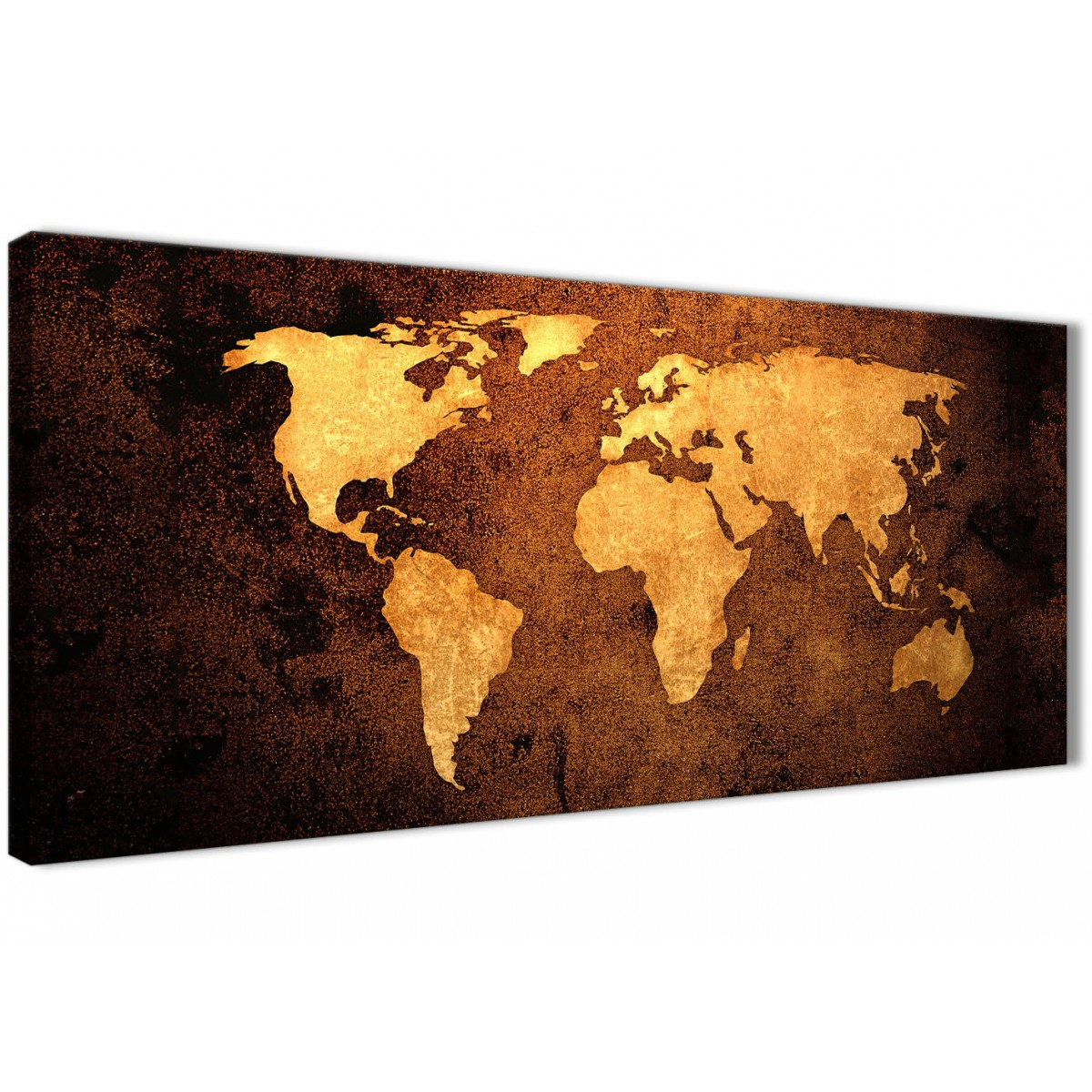 Vintage Old World Map Brown Cream Canvas Living Room