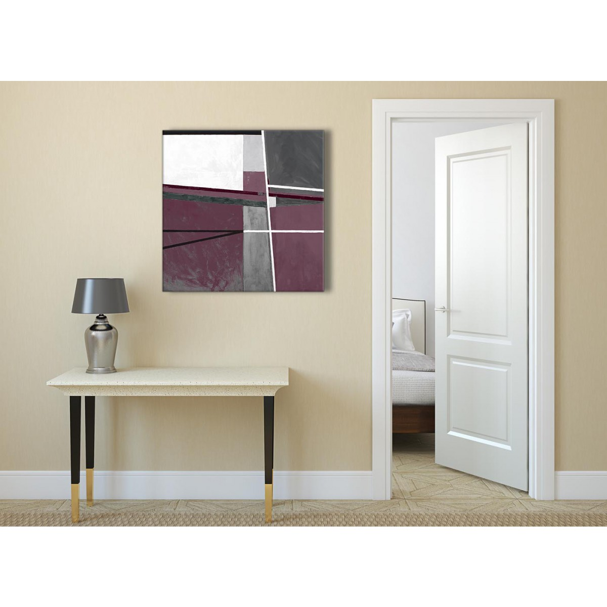Plum Purple Grey Painting Kitchen Canvas Pictures: Plum Purple Grey Painting Abstract Office Canvas Pictures