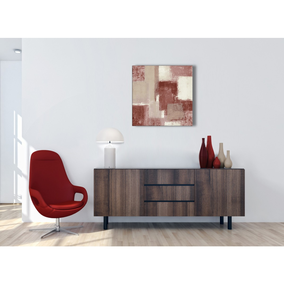 Red and Cream Hallway Canvas Pictures Decor - Abstract 1s370m - 64cm ...