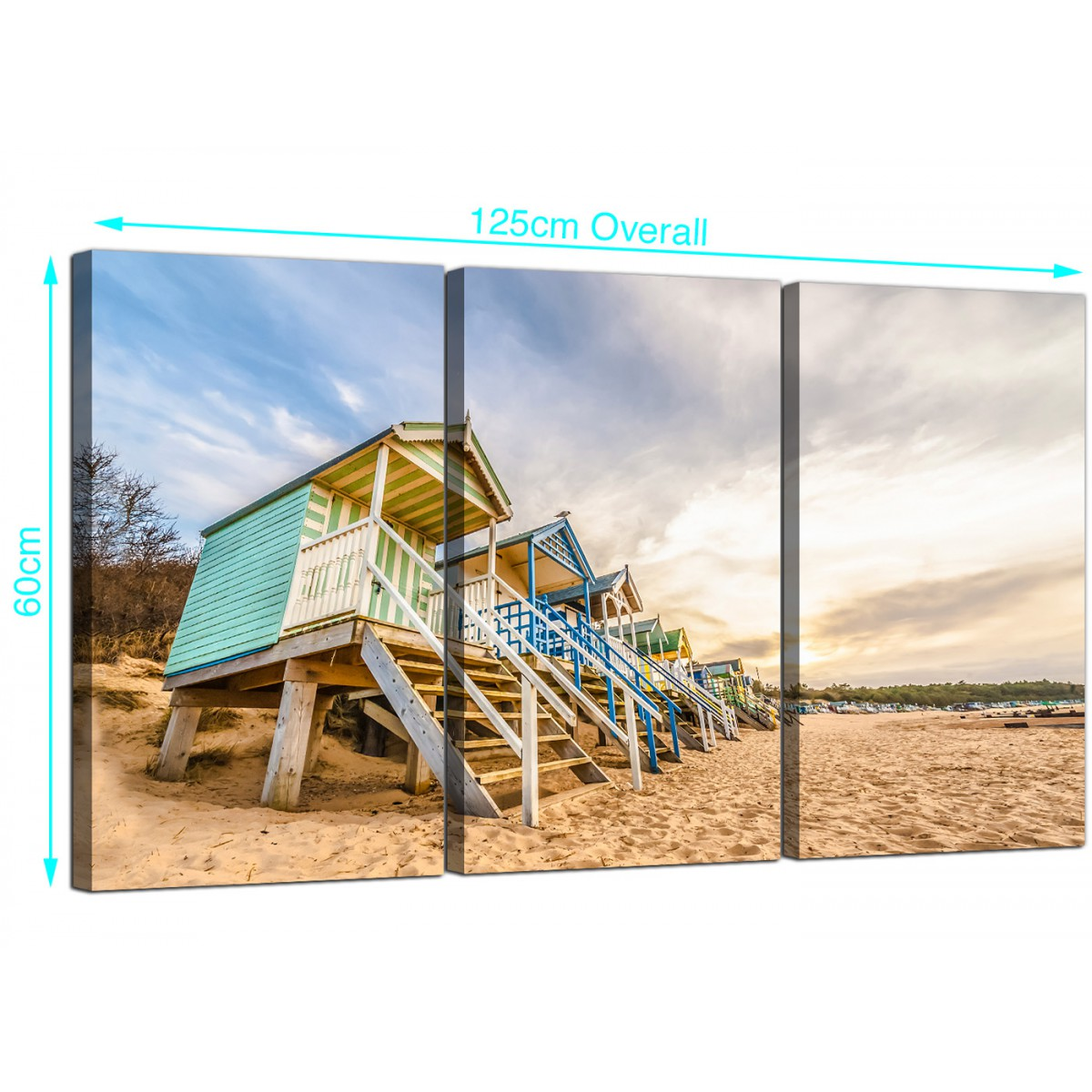 Cheap Beach Huts Canvas Prints 3 Panel For Your Bedroom