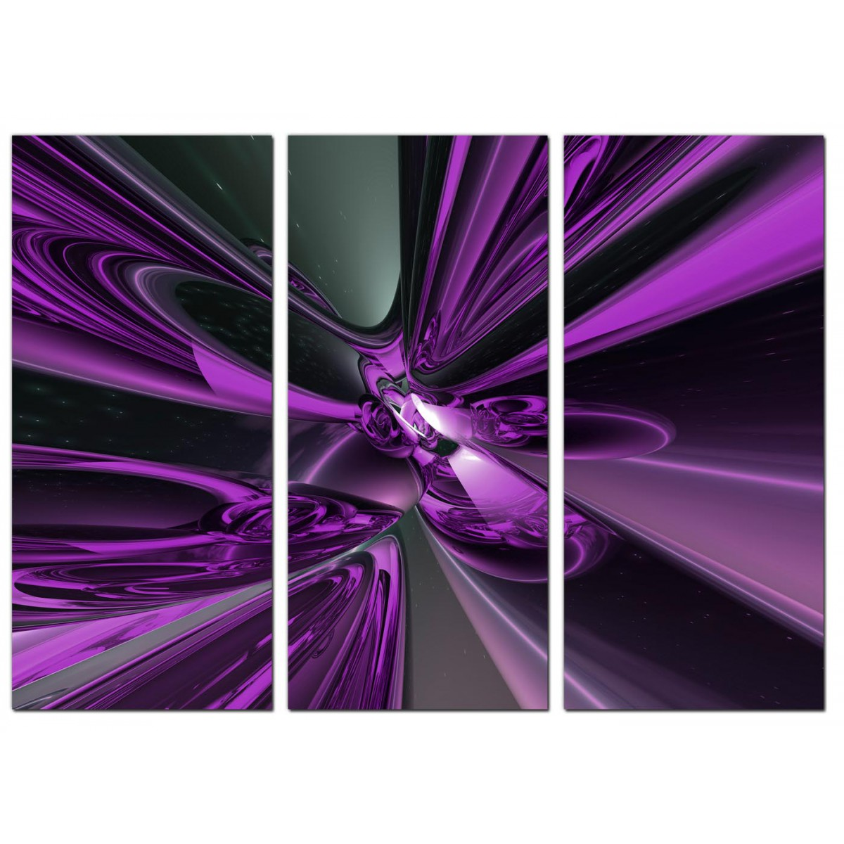 large abstract canvas art three panel in purple. Black Bedroom Furniture Sets. Home Design Ideas
