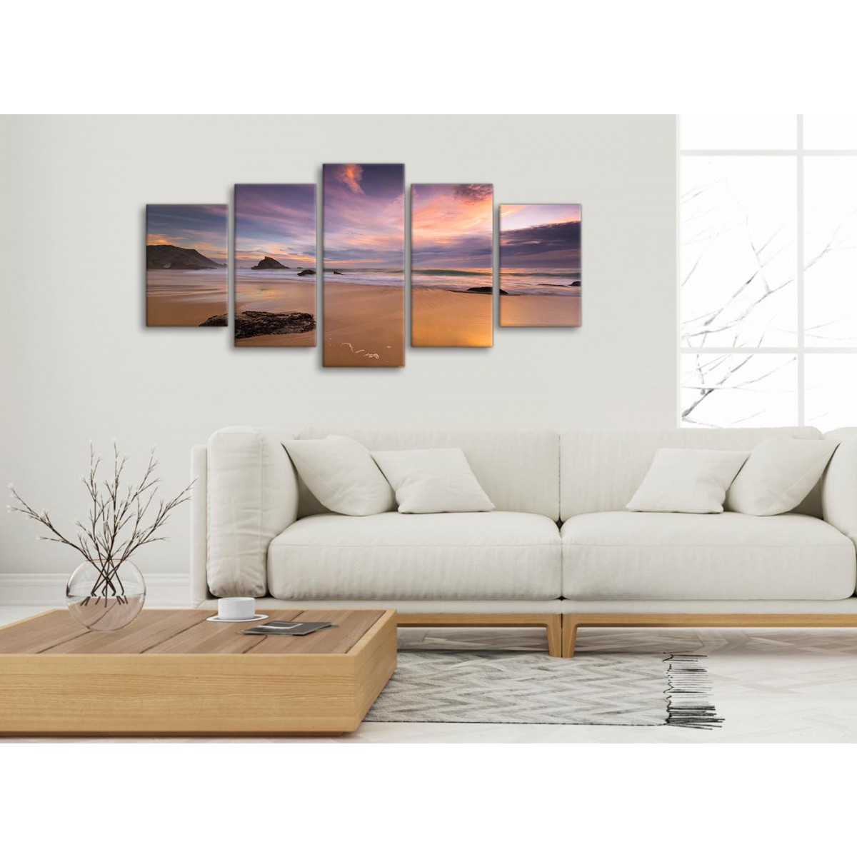 ENGLISH SEASIDE MORNING CANVAS WALL ART PICTURE LARGE 75 X 50 CM