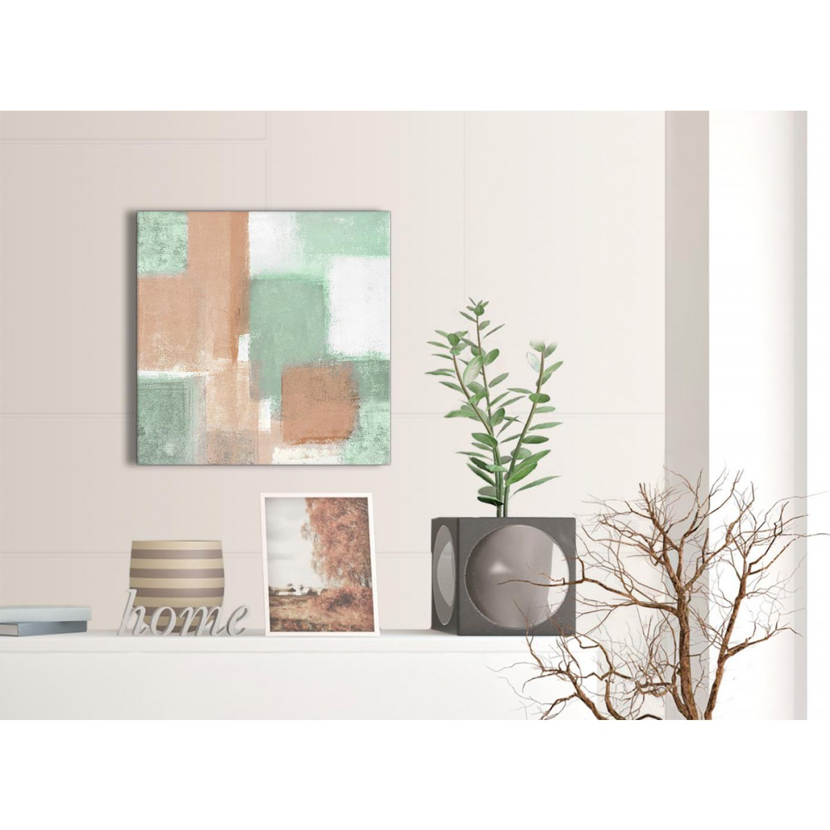 peach mint green bathroom canvas wall art accessories abstract 1s375s 49cm square print. Black Bedroom Furniture Sets. Home Design Ideas