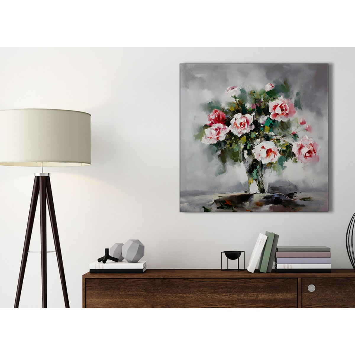 Pink Grey Flowers Painting Kitchen Canvas Wall Art