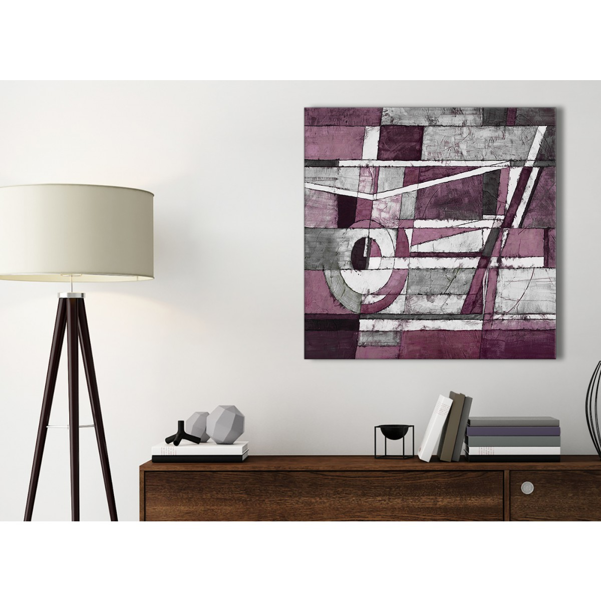Plum Grey White Painting Bathroom Canvas Pictures