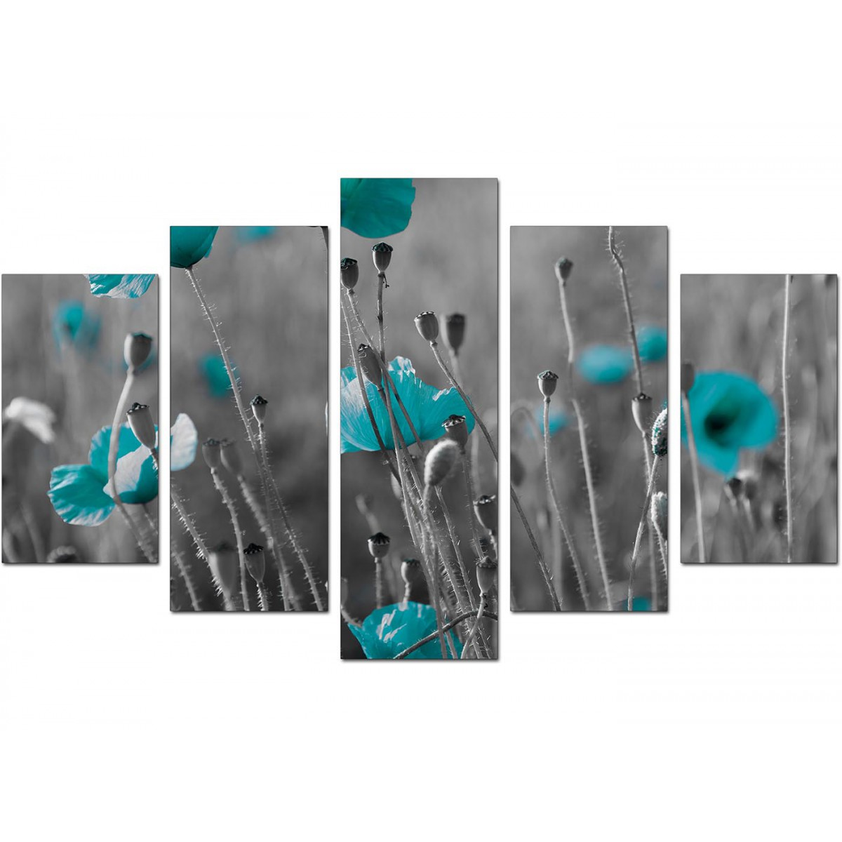 Extra Large Teal Poppies Canvas Wall Art 5 Piece In Black